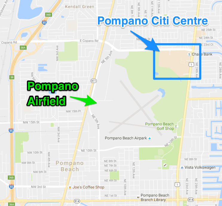 Map view of the area around the Pompano Citi Centre. Including an airport and a bike trail